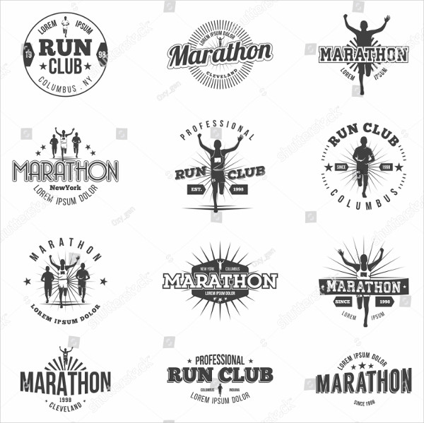 Retro Run Club Badges and Marathon Badges Design