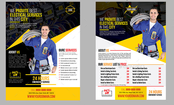 Simple Electrical Services Flyers Templates