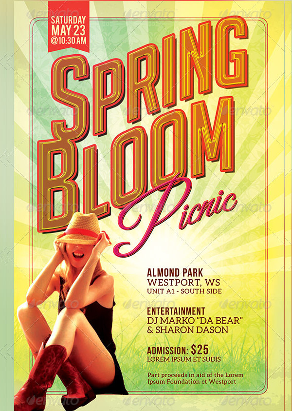 Spring Bloom Picnic Photoshop Flyer Template
