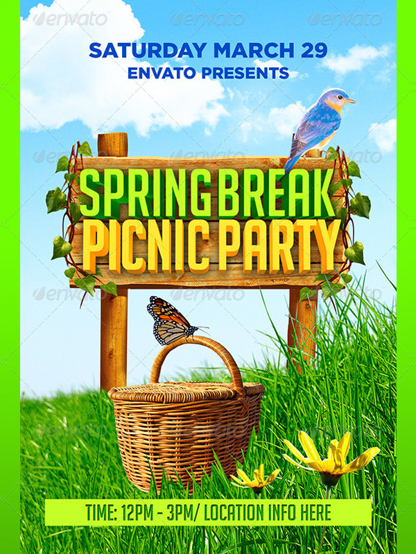 Spring Break Picnic Party Flyer
