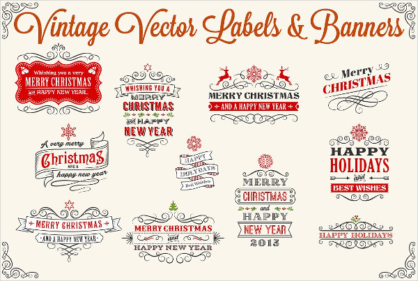 Vector Holiday Labels & Banners