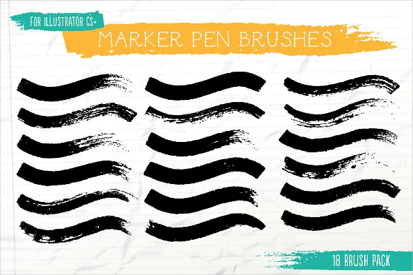 18 Vector Marker Pen Art Brush Bundle