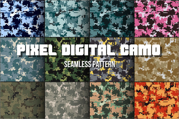 12 Digital Pixel Camouflage Patterns