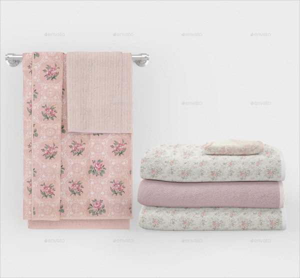 Printable Bath Towels Mockup Set