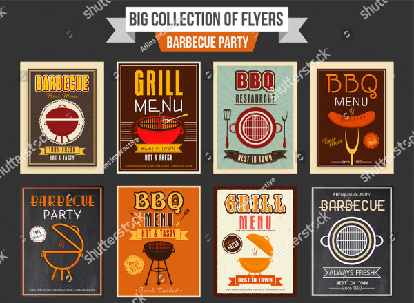 Big Collection of Barbecue Party Flyers Templates
