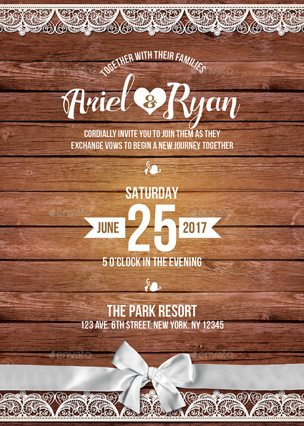 Rustic Wedding Reception Invitation Template