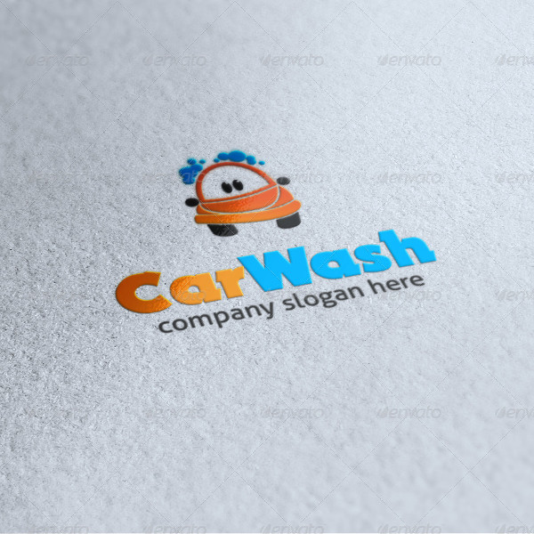 Car Wash Cartoon Logo Template