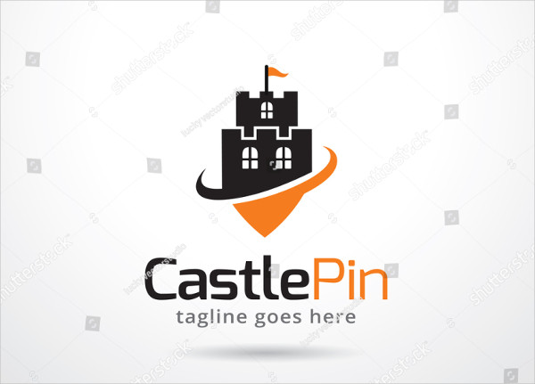 Castle Pin Logo Template Design Vector