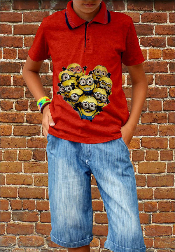 Children Polo T-shirt Mockup Design Templates