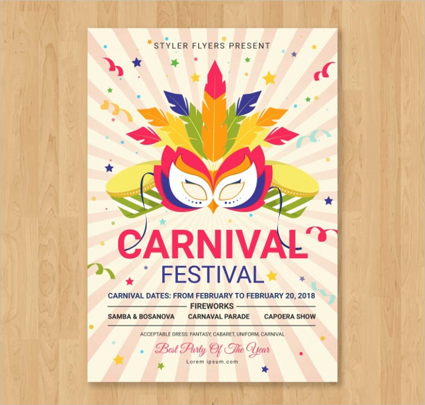 Colorful Carnival Party Poster Template Free