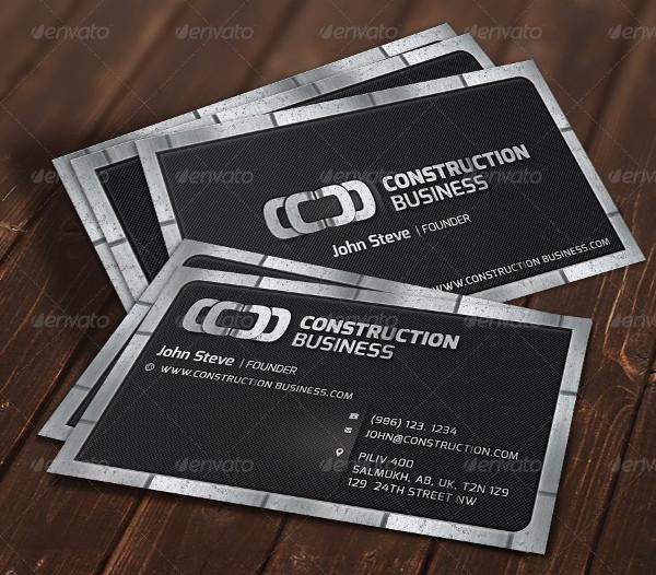 Construction Metallic Business Card Template