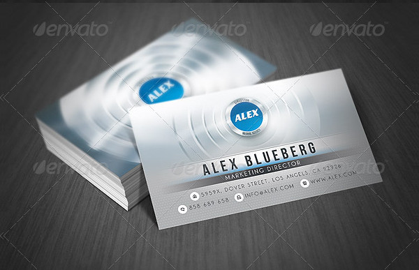 Creative Business Card with Metallic Glossy Style
