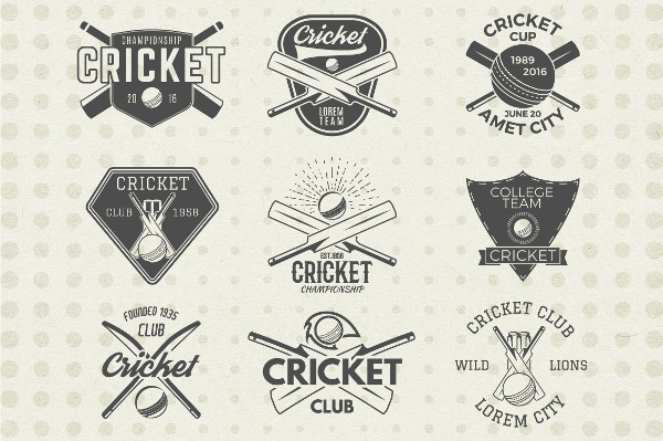 Cricket Badges & Design Elements