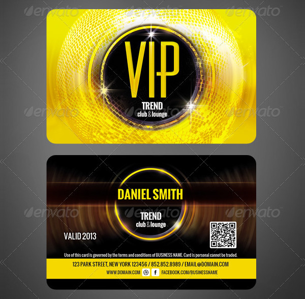 Custom Club VIP Membership Cards Template