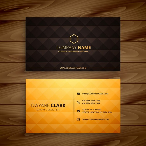 Diamond Shapes Golden Business Card Free