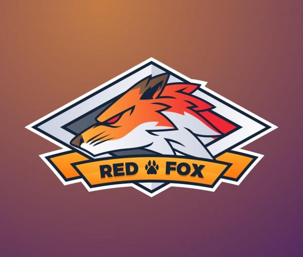 E-Sports Team Logo Template with fox Free Vector