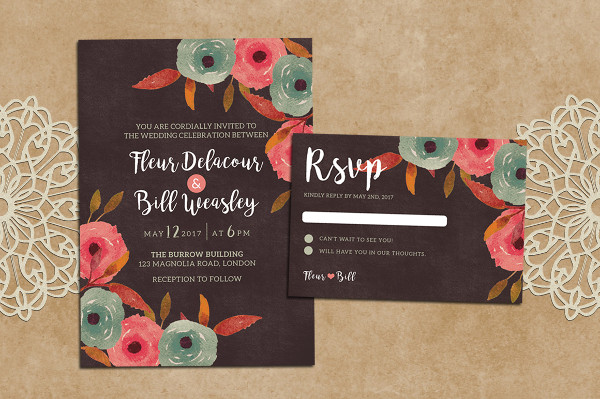 Rustic Wedding Invitation + RSVP