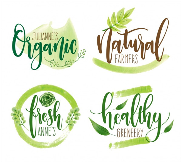 Ecological Watercolor Logos Free Download