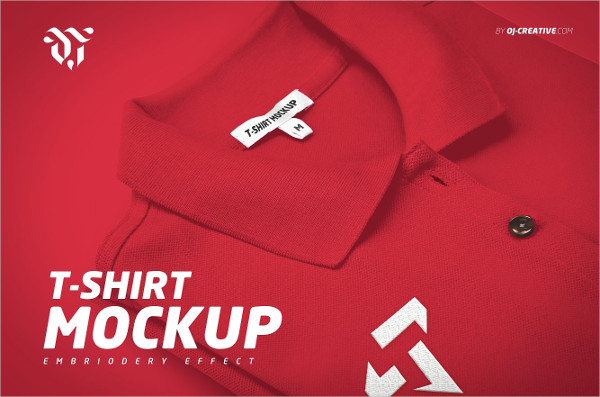 Embroidered Polo T-Shirt Mockup Design