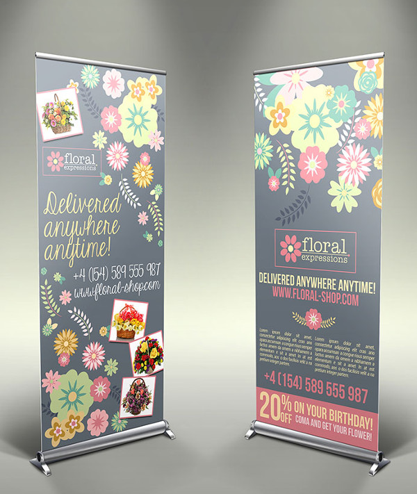 Free PSD Flower Shop Roll-Up Banners