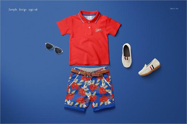 Customaizable Kids Polo Set Mockup