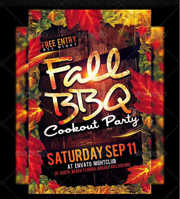 Fall BBQ Cookout Party Flyer PSD