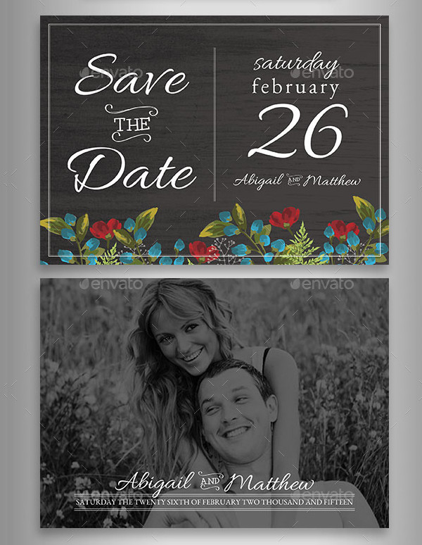 Floral Rustic Wedding Announcement Set