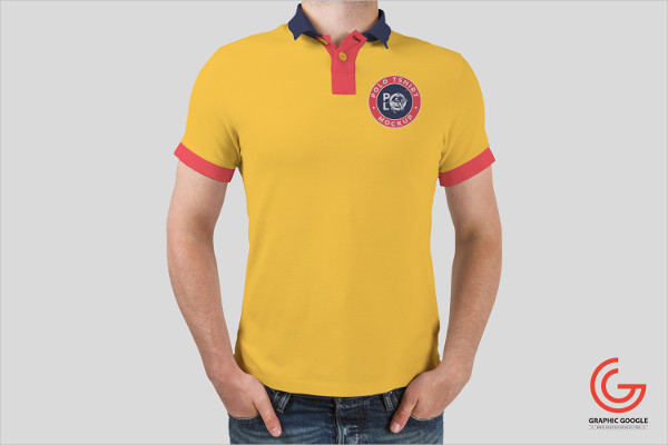 Free Download Man Wearing Polo T-Shirt Mockup