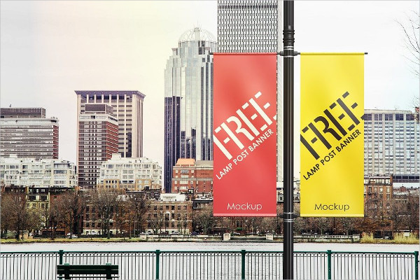 Free Lamp Post Banner Mockup PSD Template
