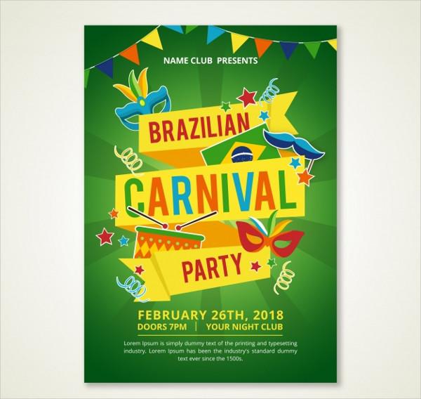 Free Modern Green Brazilian Carnival Poster