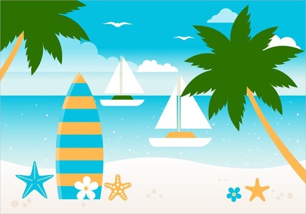 Free Tropical Summer Beach Vector Background