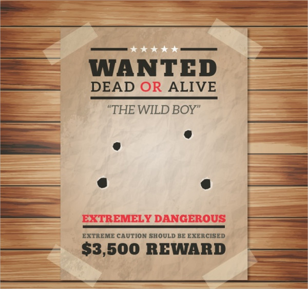Free Vector Wanted Poster With Four Bullet Holes