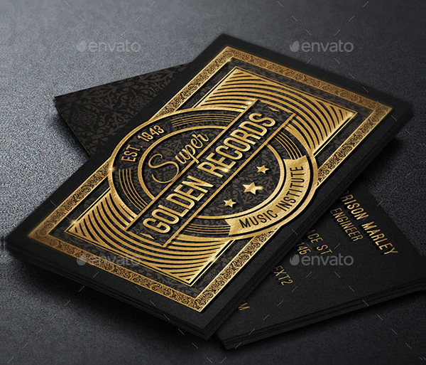 Gold Decorated Business Card Template