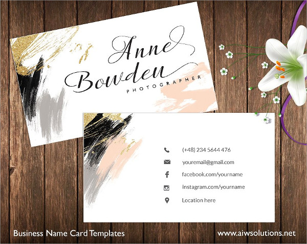 Gold Glitter Name Card Templates