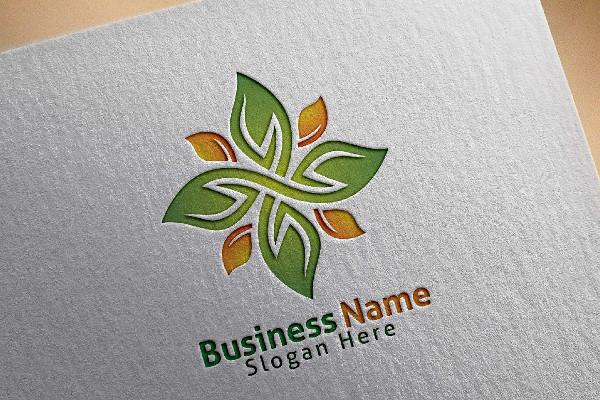 Green Leaf Ecology Yoga Logo Template