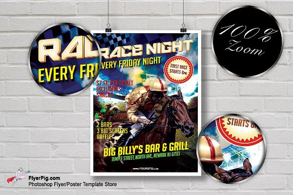 Horse Race Night Flyer Photoshop Template