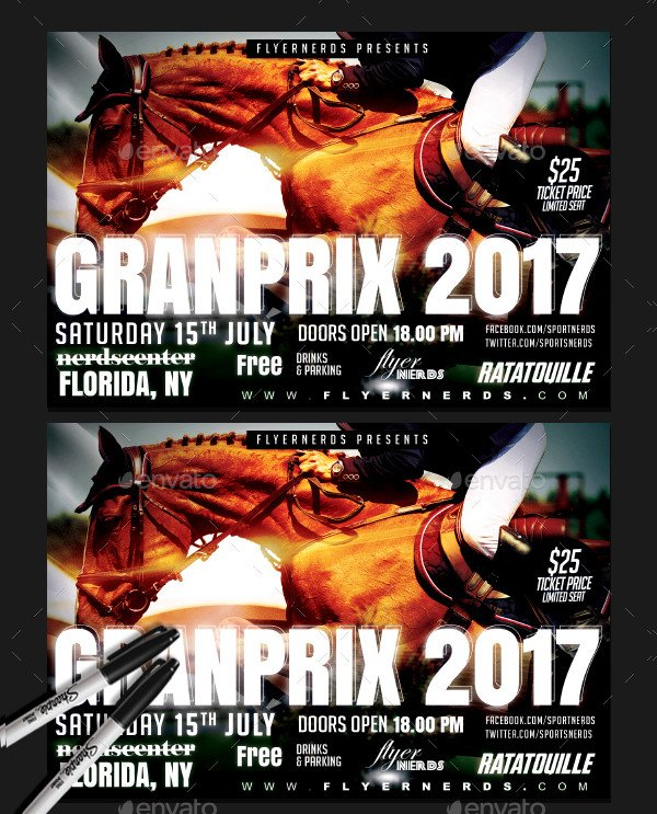 Horse Racing Grand Prix Championships Sports Flyer