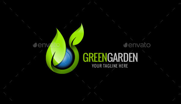 Green Garden Photoshop Logo Template