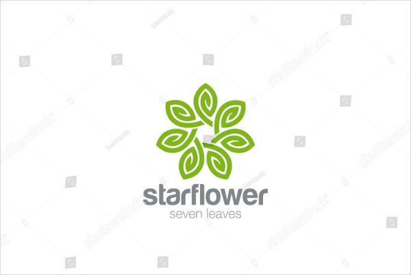Leaves Star Flower Logo Design