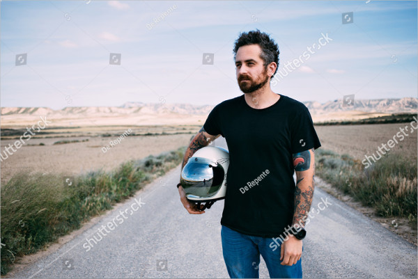 Man with Beard and Arm Tattoos Mockup