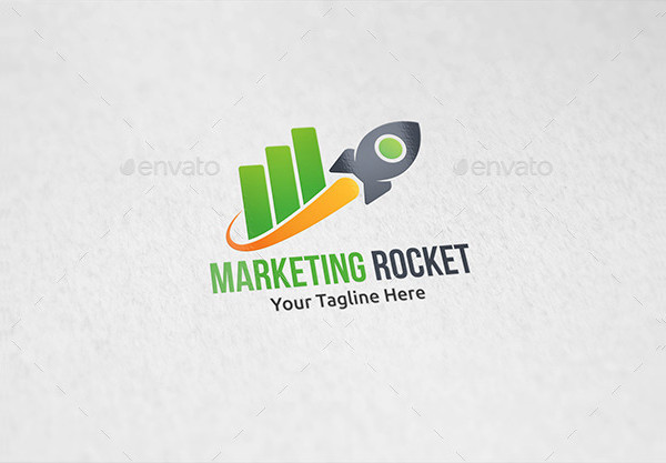 Marketing Rocket Design Logo Template