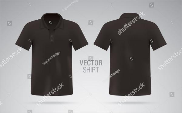 Men's Black Vector Polo Shirt Template