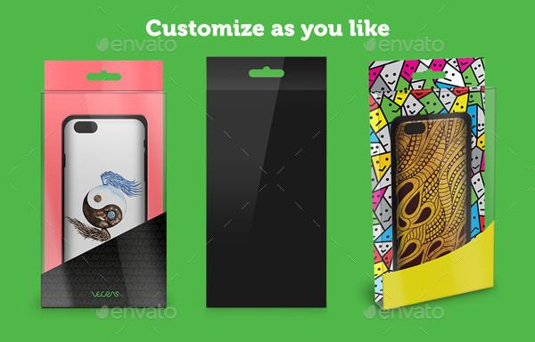 Mobile Case Transparent Packing Design Mockup