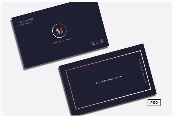 Navy Blue Metallic Business Card Template