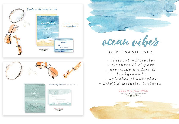Ocean & Beach Watercolor Backgrounds
