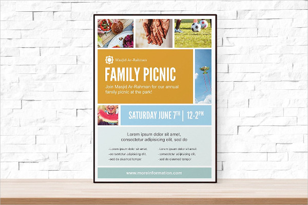 Photo Collage Picnic Party Flyer Template