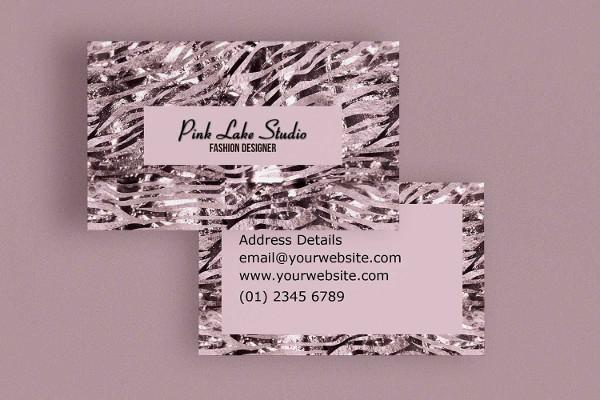 Pink Zebra Print Business Card Template