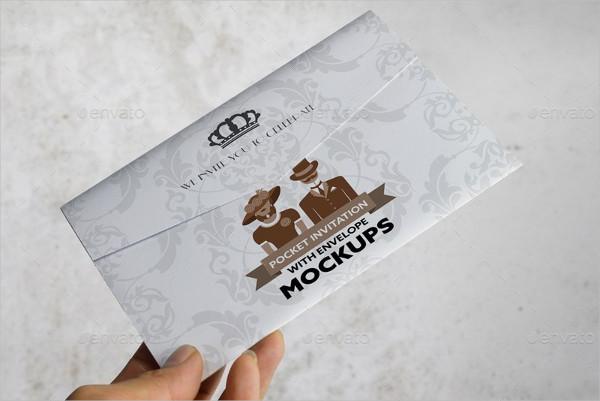 Postcard Pocket Invitation With Envelope Mockups