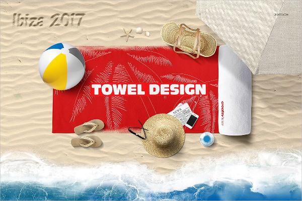 Printed Towel Scene Mockup Design