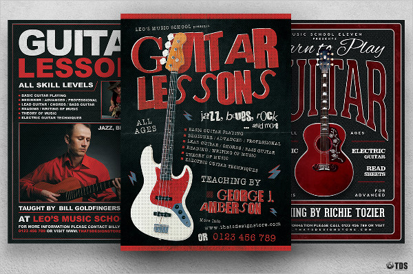 Punk Guitar Lessons Flyer Bundle